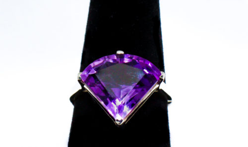 Genuine Amethyst Stone Ring Set in Sterling Silver