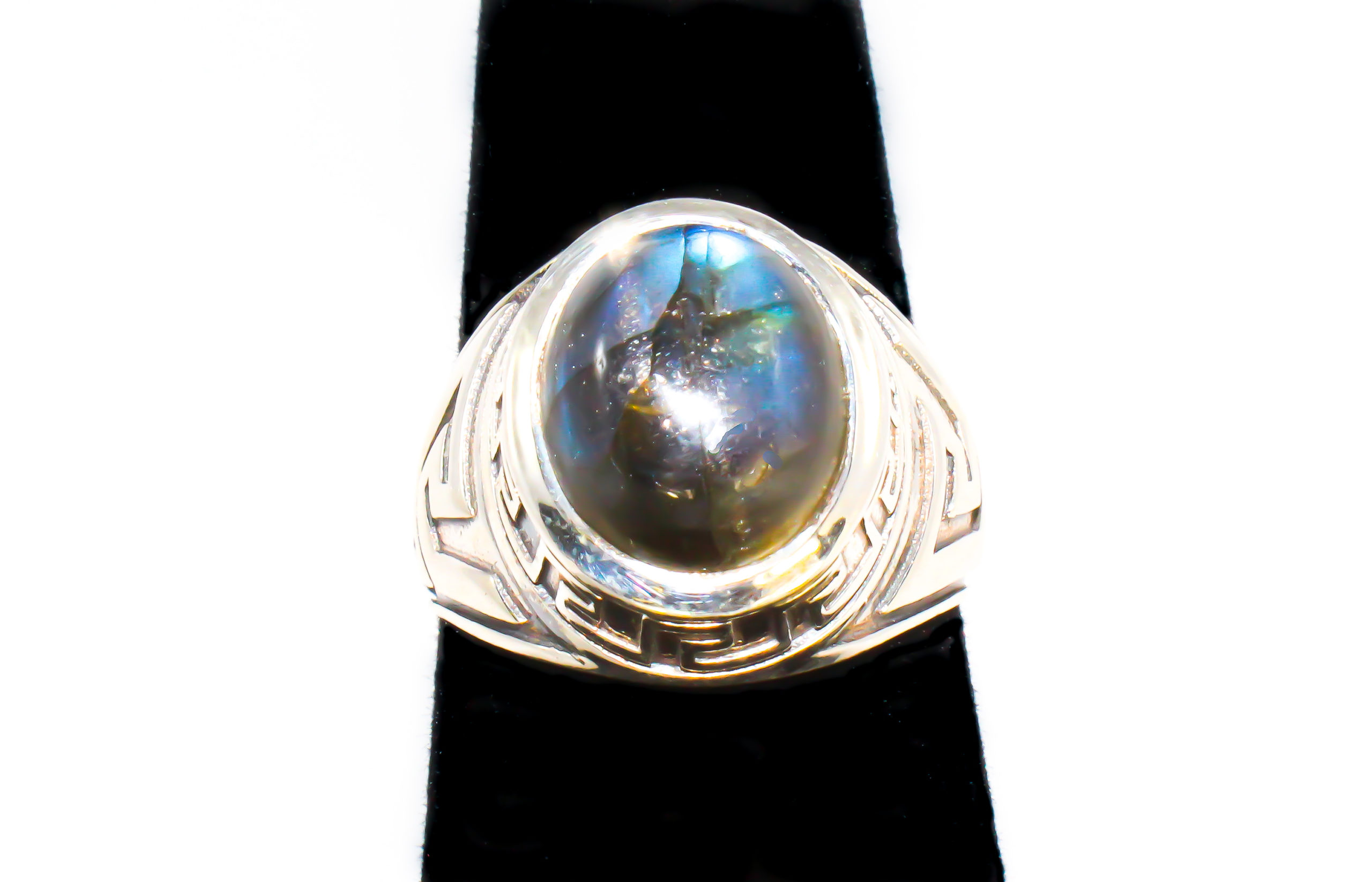 Genuine Labradorite Stone Ring Set in Sterling Silver