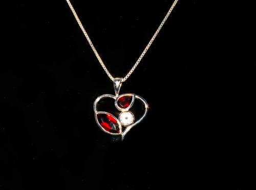 Garnet and Quartz Heart Pendant