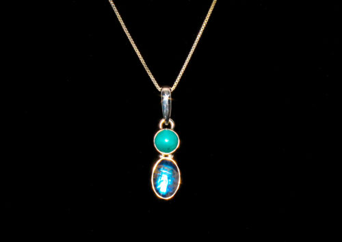 Genuine Turquoise and Moonstone Pendant