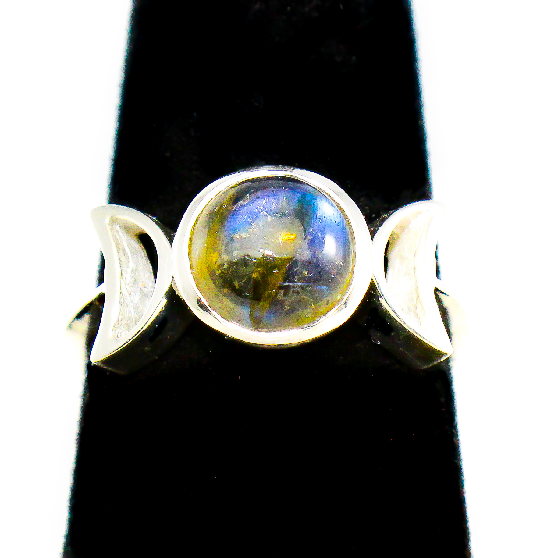 Labradorite Stone Ring with 2 Quarter Moons
